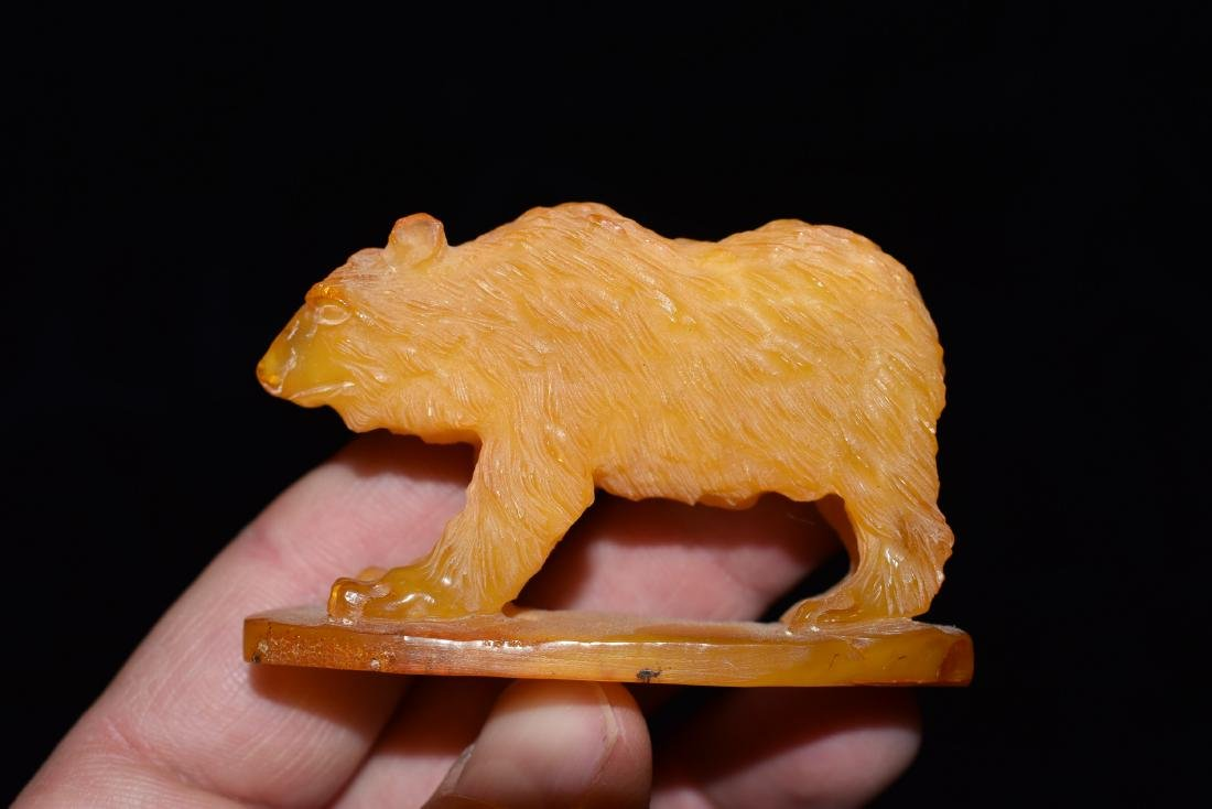 Carved Effigy Bear out of Amber, Unknown if Synthetic