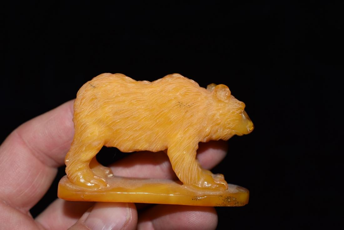 Carved Effigy Bear out of Amber, Unknown if Synthetic - 2