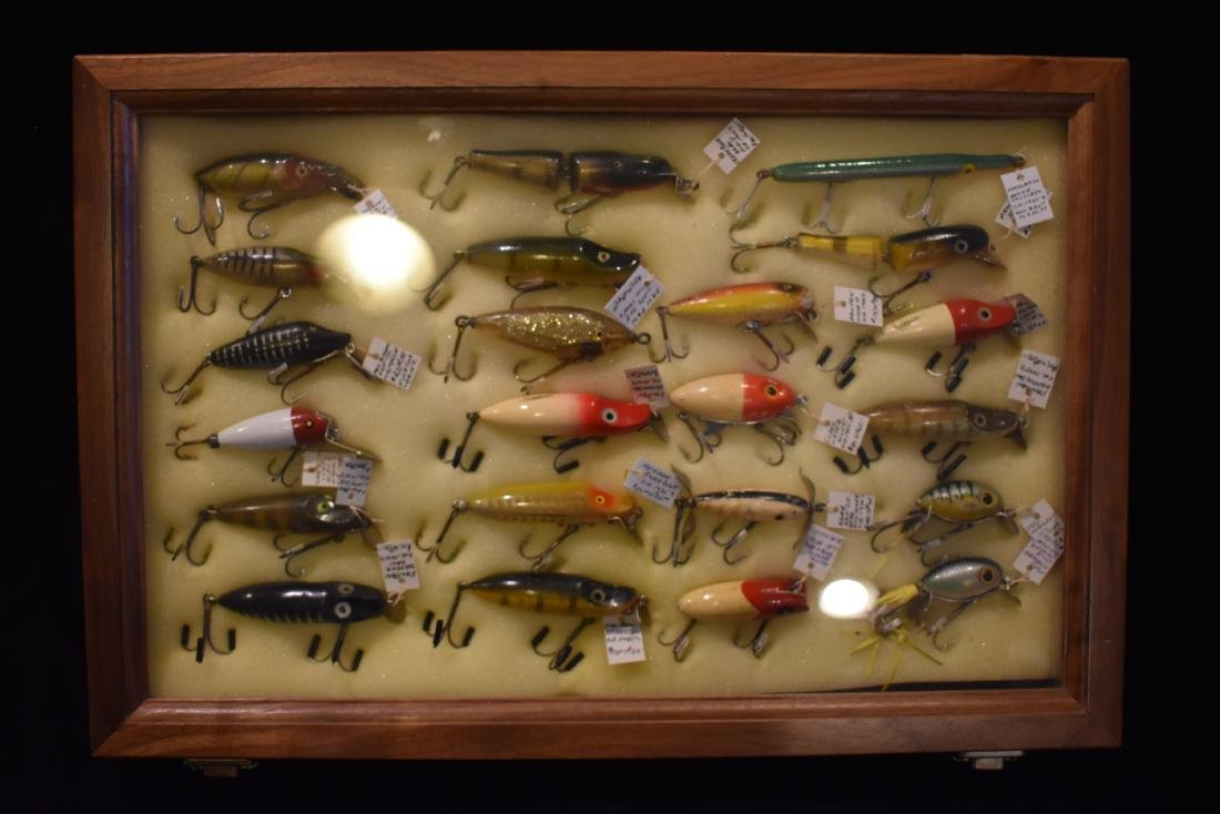 Walnut Frame with Vintage / Antique Fishing Lures,