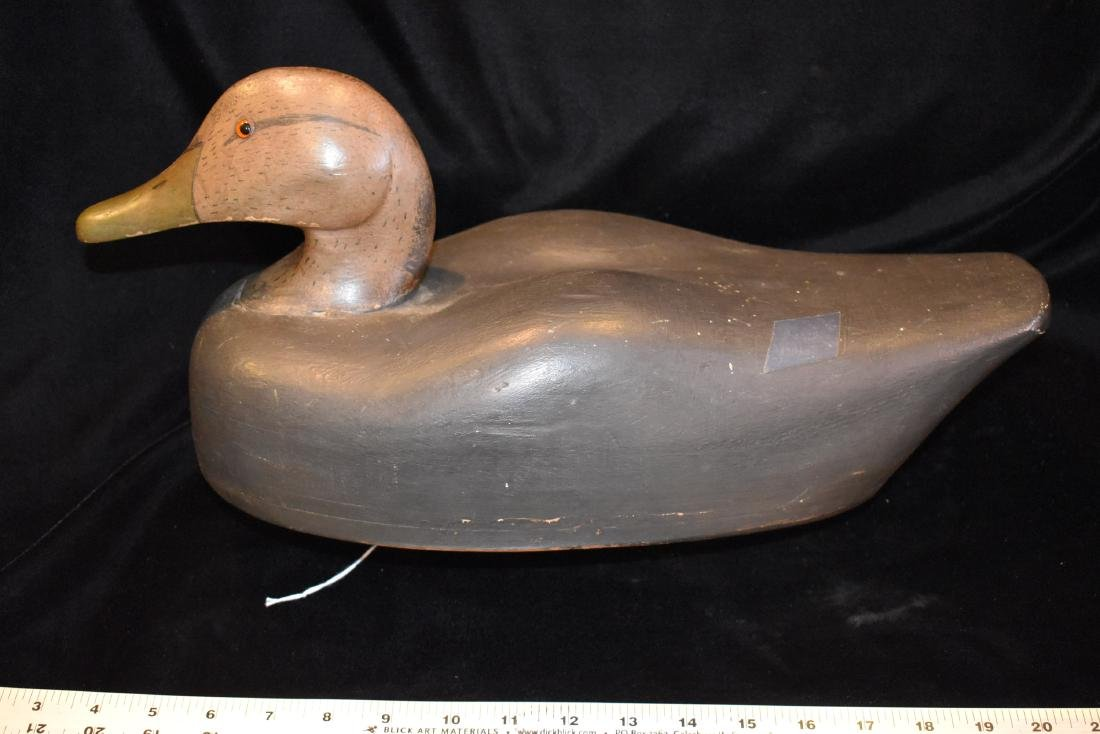Black Duck Decoy, 1950's, Hollow, Fine Detail,