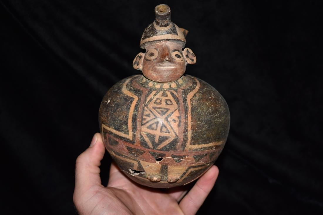 "6 1/2"" tall Peruvian pottery vessel, broken and glued - 2"