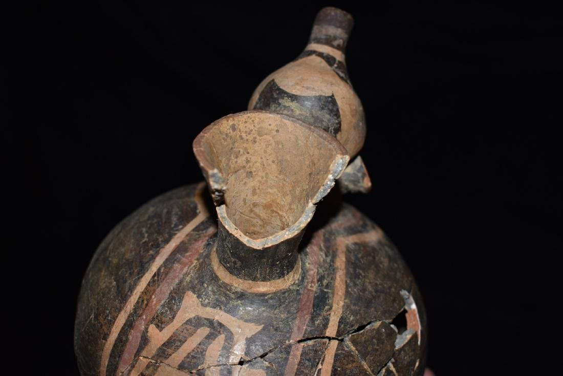 "6 1/2"" tall Peruvian pottery vessel, broken and glued - 7"