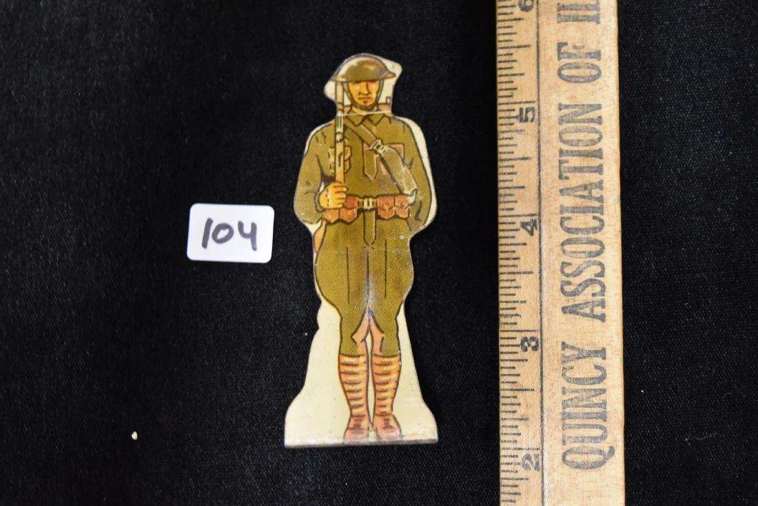 "Marx Tin Soldier US Army ""Doughboy"" Infantry Toy USA - 4"