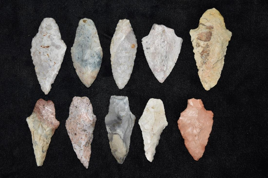 9 colorful group of adena and woodland points, MO