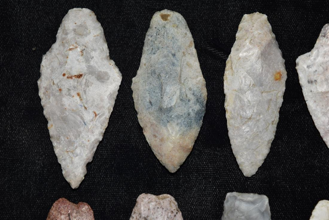9 colorful group of adena and woodland points, MO - 2