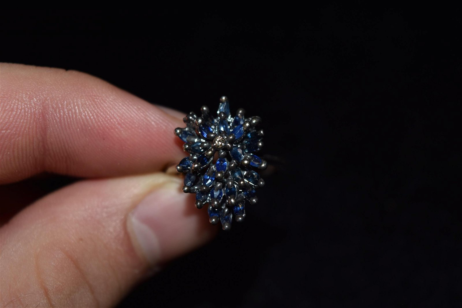 Sapphire, Sterling Silver Antique Ring, Size 8