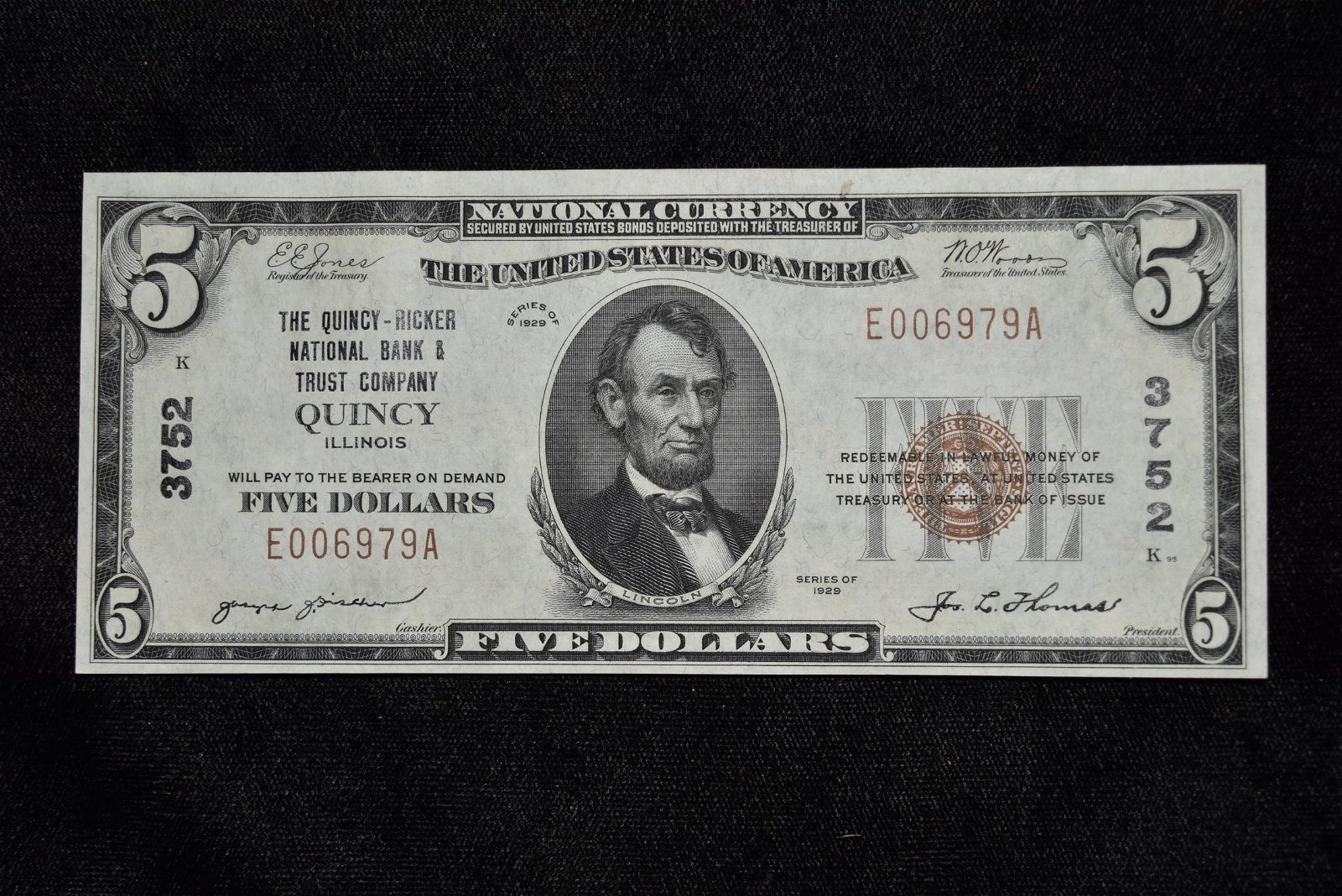 $5 Silver Note, The Quincy-Ricker National Bank & Trust