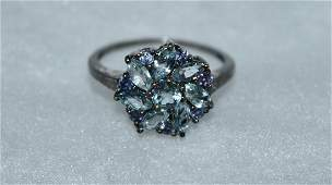2.1 cts Blue Topaz and Tanzanite Silver Ring Size 8