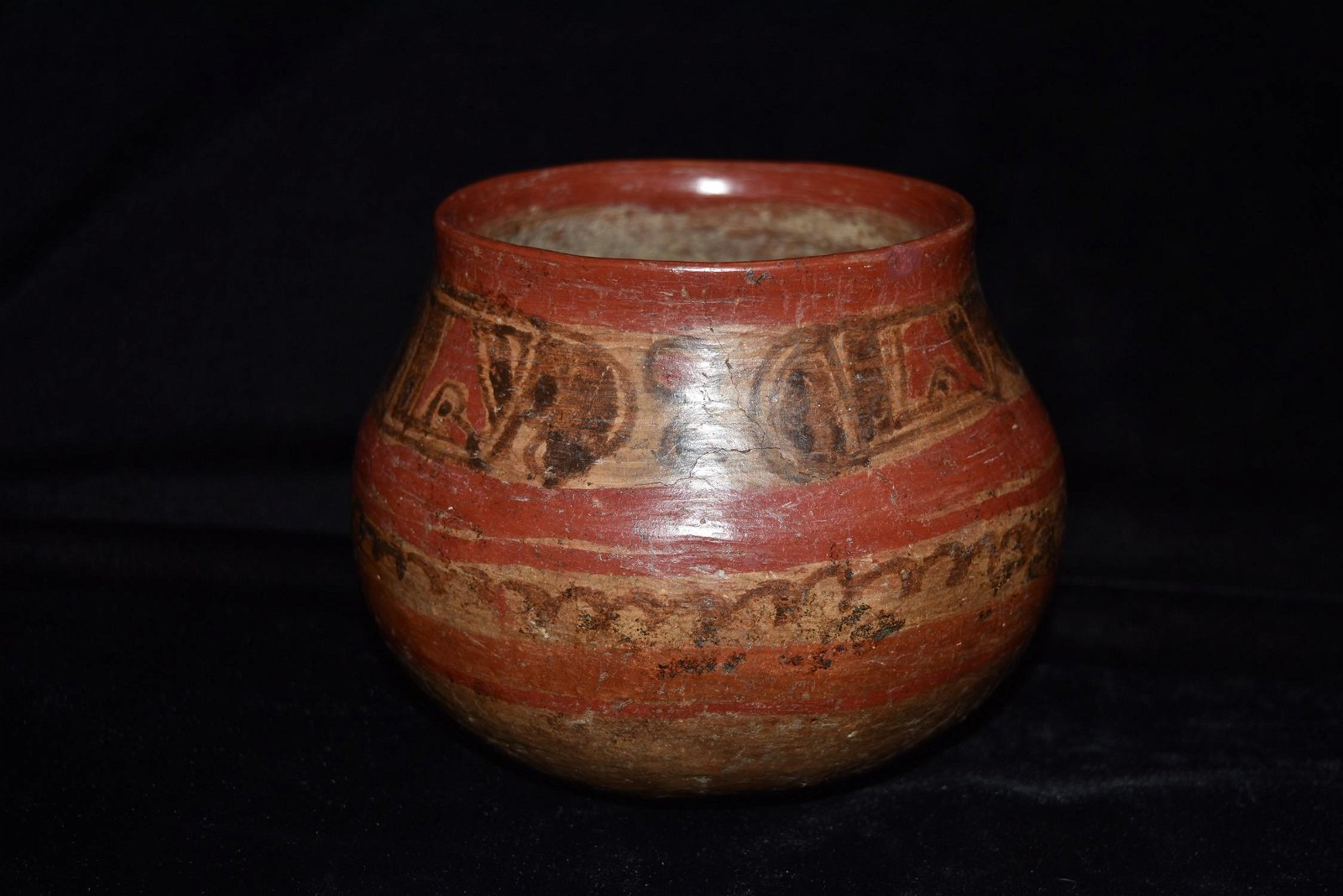 """4 3/4"""" Tall Mayan Painted Jar, Outstanding Exterior"""