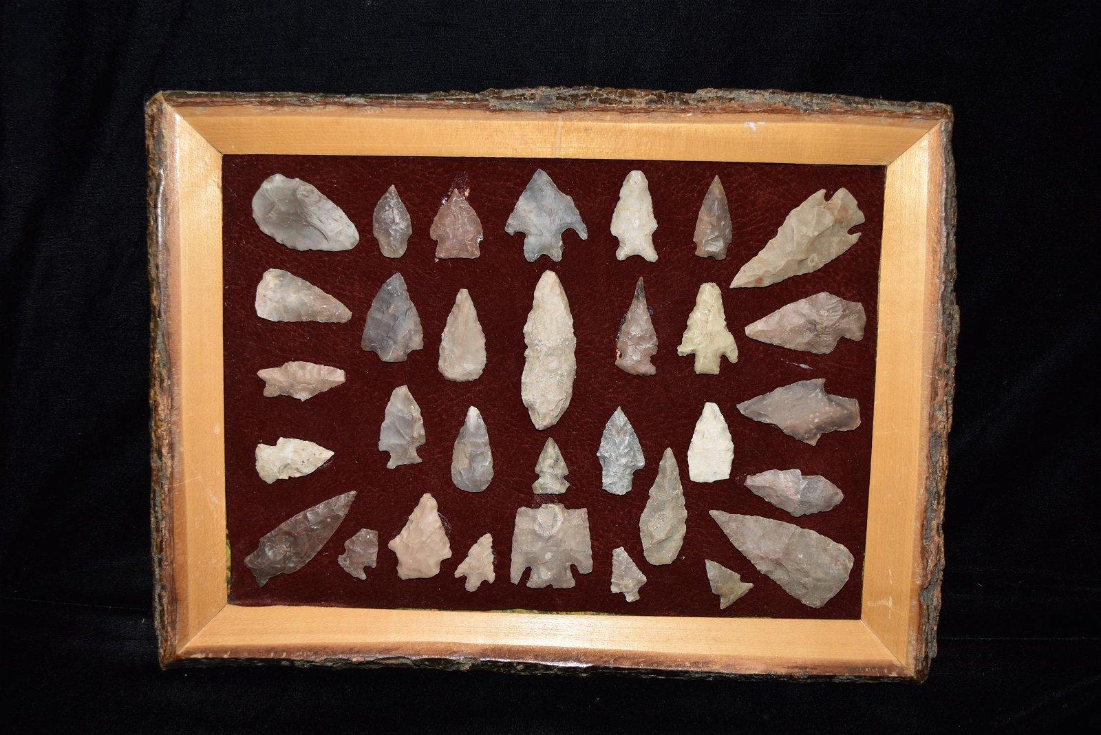Frame of Texas Arrowheads, Donny Austin Collection