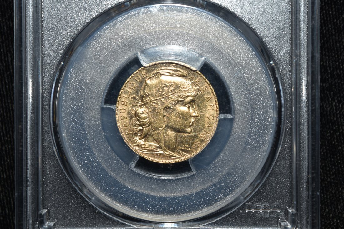 1910 France $20 Gold Franc Coin, PCGS Graded
