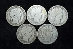 Lot of 5 Barber Half Dollars, 1899, 1912, 1908, 1900,