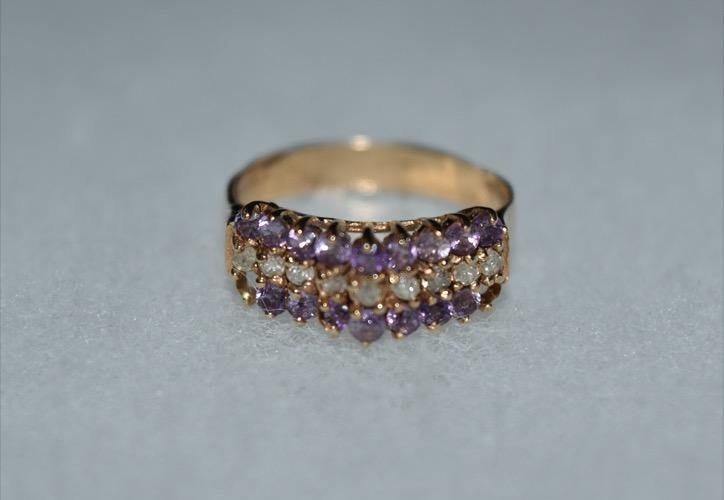 Diamond and Amethyst 18k Gold Ring Size 5