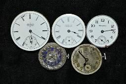 Box lot of five antique pocket watch works  Porcelain