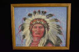 """Native American Oil Painting by George Giddens, 15 1/2"""""""