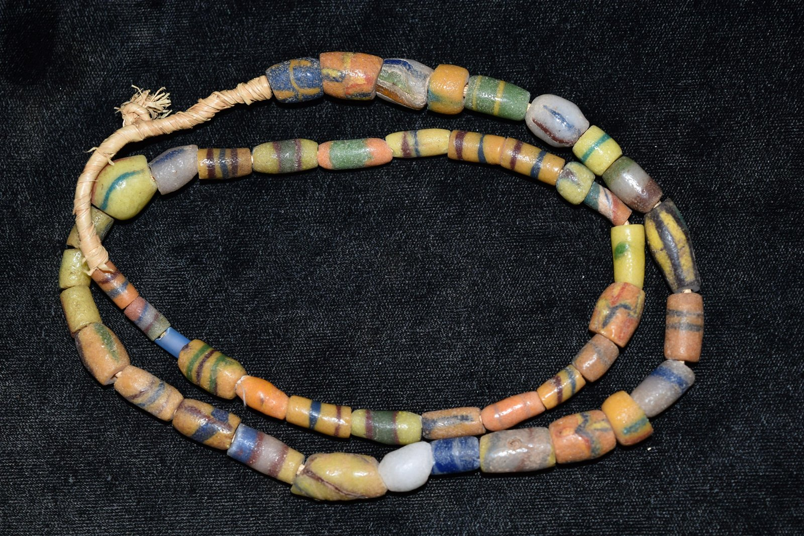 Strand of 1800s African Sandcast Trade Beads, Gem Grade