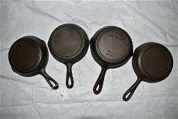 Lot of 4 Unmarked Cast Iron Skillets Vintage Cast Iron
