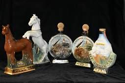 Lot of 5 Vintage Jim Beam Decanters Heartland Artifact