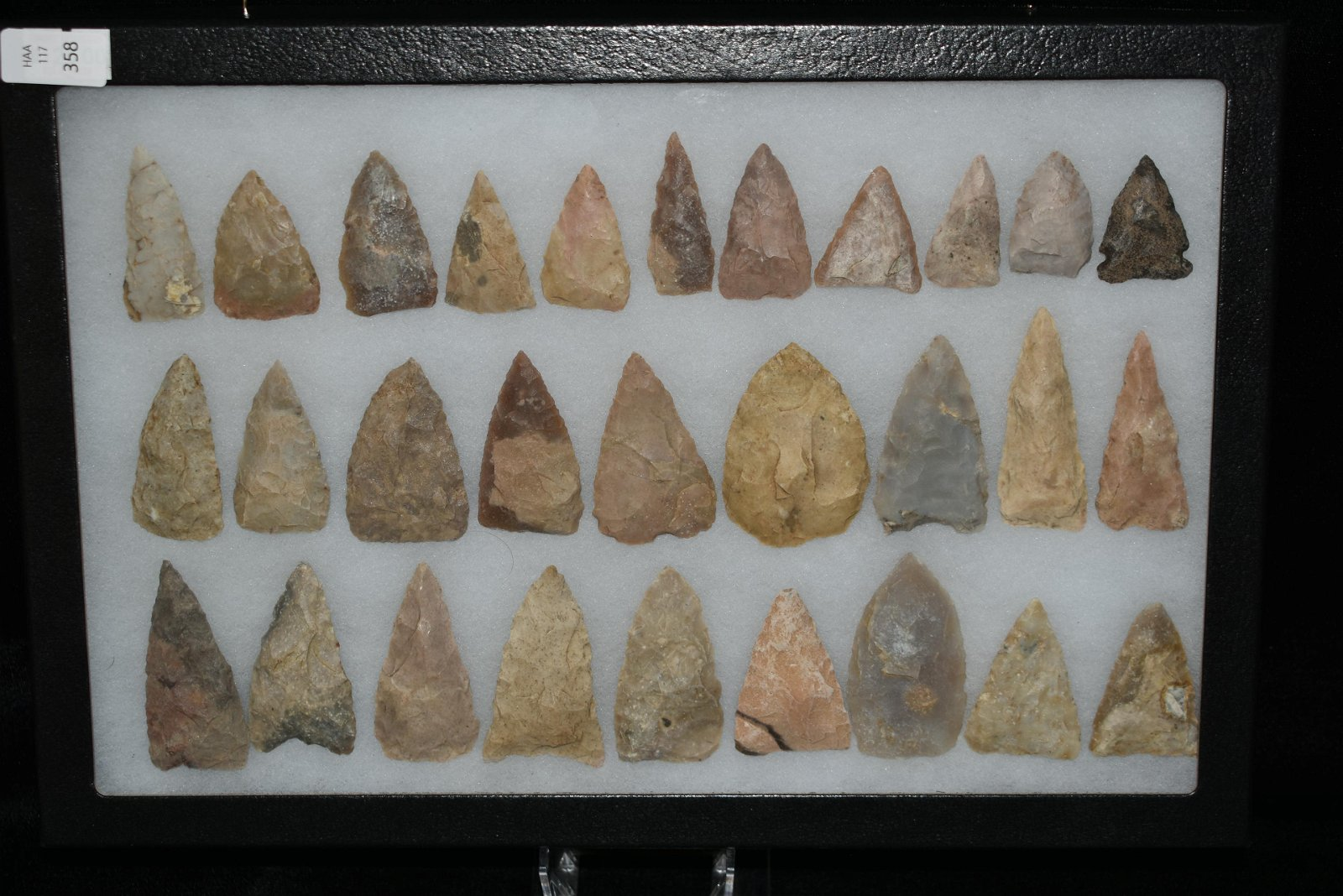 Frame Containing 29 Woodland/Archaic Points found in