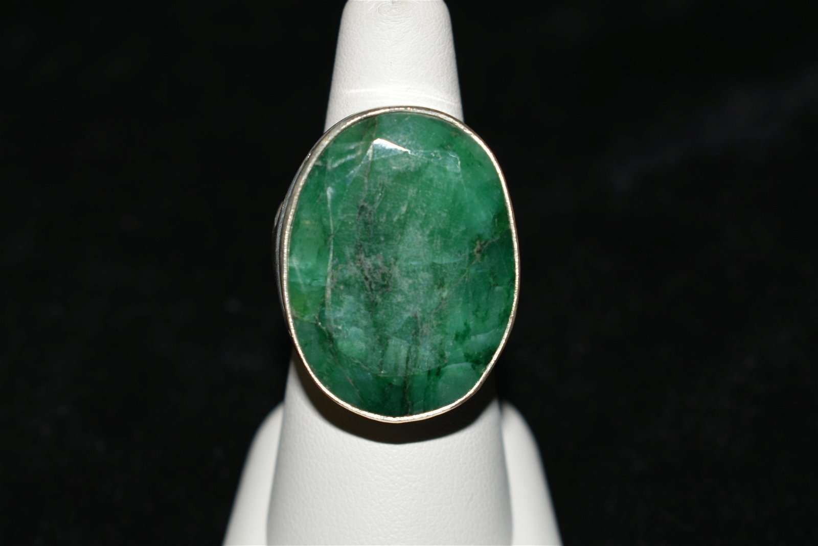 Silver Ring with Green/Black Striped Stone