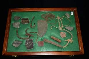 Frame Containing 18 Perishable Hohokam/Anasazi Artifact