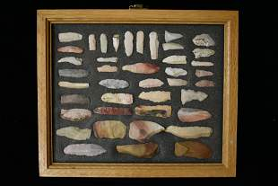 """12"""" x 10"""" Frame Containing 41 Paleo Flake Knives found"""