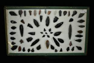 """18"""" x 11"""" Frame Containing Approximately 63 Obsidian"""