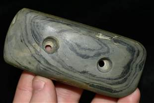 """3 5/8"""" Two Hole Gorget Made of Banded Slate, Found in"""