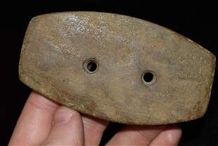 """3 7/8"""" Two Hole Gorget, Authentic Native American"""