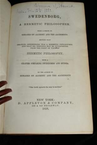 1858 Swedenborg, A Hermetic Philosopher 1st Ed