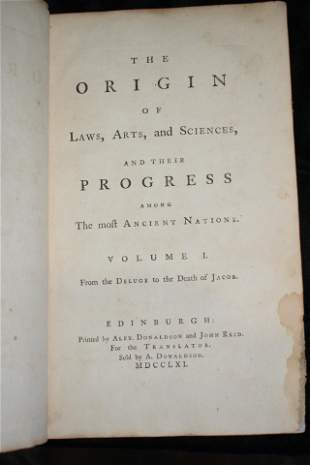 1761 The Origin of Laws, Arts, and Sciences 1st Ed