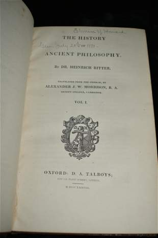 1838 The History of Ancient Philosophy 1st Ed