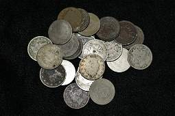 """LOT OF 24 LIBERTY """"V"""" NICKELS FROM 1883-1912, AVERAGE"""