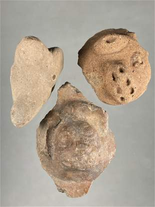 LOT OF 3 PRE COLUMBIAN POTTERY EFFIGY HEADS FROM A DOLL