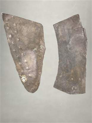 PAIR OF PRE COLUMBIAN SILVER DECORATIONS FOUND IN