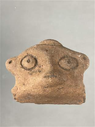 """2 1/2"""" PRE COLUMBIAN POTTERY EFFIGY HEAD FROM A DOLL OR"""