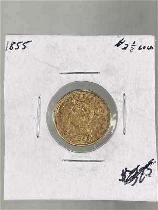 1855 QUARTER EAGLE LIBERTY GOLD COIN, $2.5 DOLLAR EARLY