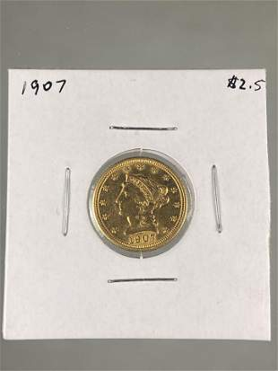 1907 QUARTER EAGLE LIBERTY GOLD COIN, $2.5 DOLLAR EARLY