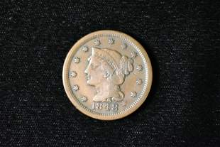 1848 Large Cent, Early US Coin, Penny