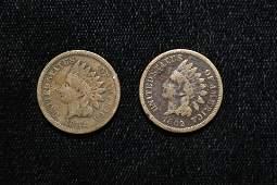 Pair of Nicer Civil War Era Indian Head Penny, 1862