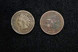1862 Civil War Era Indian Cent and 1857 Flying Eagle
