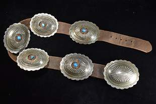 Vintage Native American Concho Belt with Inlaid