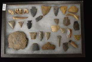 Lot of 35 Tools & Points With Pottery Fragments from
