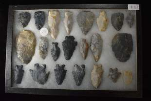 Frame of 22 Arrowheads & Tools from Coshocton, Ohio,