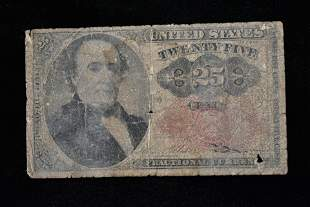 United States 25 Cent Paper Currency, Vintage