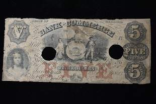 5 Dollar Paper Currency, Bank of Commerce, GA, 1857