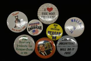LOT OF (8) VINTAGE POLITICAL PRESIDENTIAL BUTTONS /