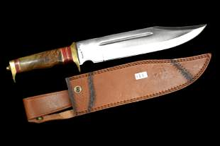 """18"""" Fox and Hound Bowie Knife with Leather Sheath, Very"""