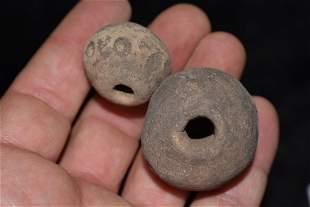 2x Pre Columbian Mayan Bead Guatemala Squash Effigy