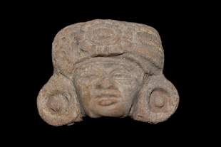PRE-COLUMBIAN POTTERY HEAD EFFIGY, GREAT DETAILS, FOUND